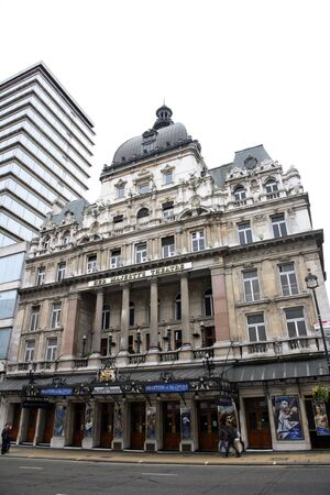 London , UK - May 06, 2012: Outside view of Her Majestys Theatre, located on Haymarket, City of Westminster, since 1705, designed by Charles J. Phipps.