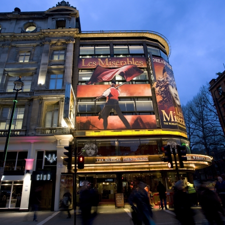 London , UK - December 10, 2012: Outside view of Queen's Theatre, West End theatre, located on Shaftesbury Avenue, City of Westminster, since 1907, designed by W.G.R. Sprague, at Night.   Stock Photo - 18979165
