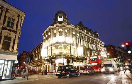 London , UK - December 10, 2012: Outside view of Gielgud Theatre, West End theatre, located on Shaftesbury Avenue, City of Westminster, since 1906, designed by W.G.R. Sprague, at Night.   Editorial