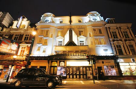westend show: London , UK - December 10, 2012: Outside view of Apollo Theatre, West End theatre, located on Shaftesbury Avenue, City of Westminster, since 1901, designed by Lewin Sharp, at Night.