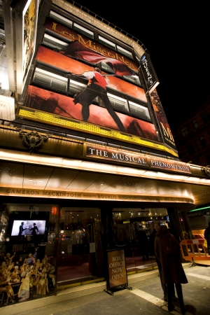 London , UK - December 10, 2012: Outside view of Queens Theatre, West End theatre, located on Shaftesbury Avenue, City of Westminster, since 1907, designed by W.G.R. Sprague, at Night.
