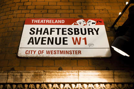 shaftesbury avenue: London , UK - December 10, 2012: Street Sign of Shaftesbury Avenue, was built in the late 19th century, now it is considered heart of Londons West End theatre district.
