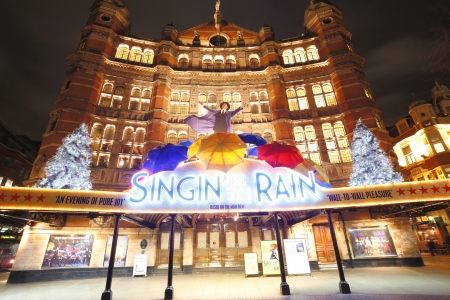 London , UK - December 10, 2012: Outside view of Palace Theatre, West End theatre, located on Cambridge Circus, City of Westminster, since 1891, designed by Thomas Edward Collcutt, at Night.