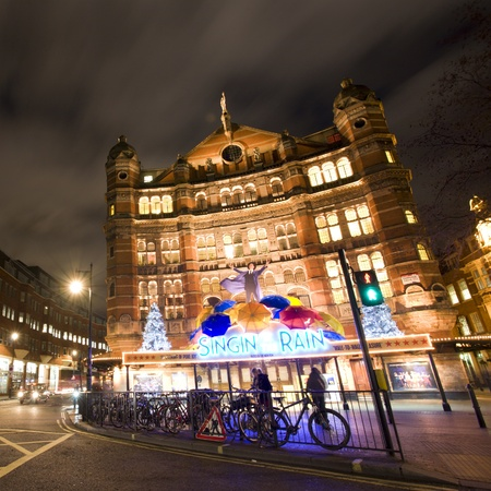 westend: London , UK - December 10, 2012: Outside view of Palace Theatre, West End theatre, located on Cambridge Circus, City of Westminster, since 1891, designed by Thomas Edward Collcutt, at Night.