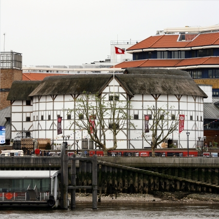 globe theatre: London , UK - June 14, 2012: Outside view of Shakespeares GlobeTheatre, located on 21 New Globe Walk, Southwark London, since 1997, designed by Pentagram.