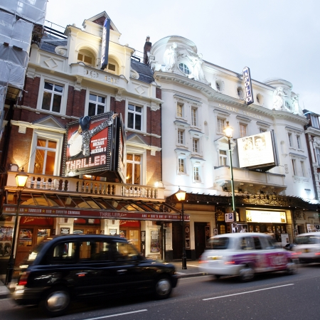 westend show: London , UK - December 10, 2012: Outside view of Apollo and Ryric Theatre, West End theatre, located on Shaftesbury Avenue, City of Westminster. Shaftesbury was built in the late 19th century, now it is considered heart of Londons West End theatre distri