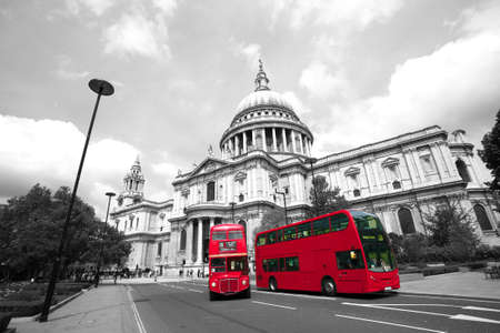Londons iconic Routemaster Bus and St Pauls Cathedral is in the background.