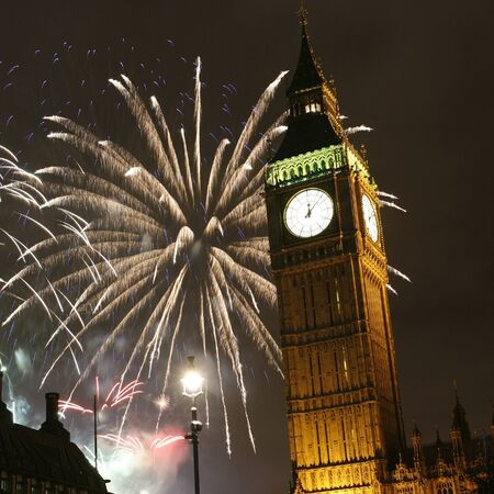 Fireworks over Big Ben at midnight, New Years Eve  photo
