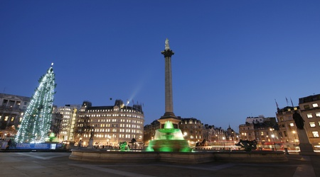 Trafalgar Square night view with christmas tree  photo