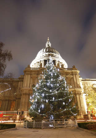 St Pauls Cathedral with christmas decoration locates at the top of Ludgate Hill in the City of London    photo