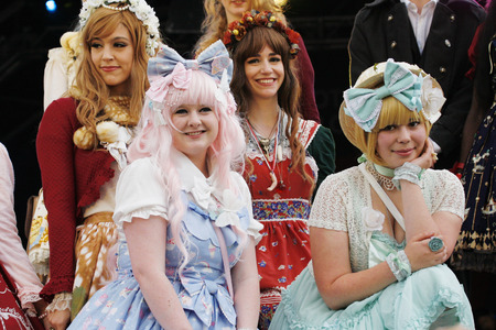 London, UK - October 5, 2013: Participants, Lolita Fashion Team by the Tea Party Club at 2013 London Japanese Matsuri (festival), various of activities to keep all ages happy at the Japan Matsuri Festival at Trafalgar Square.   Stock Photo - 22864050