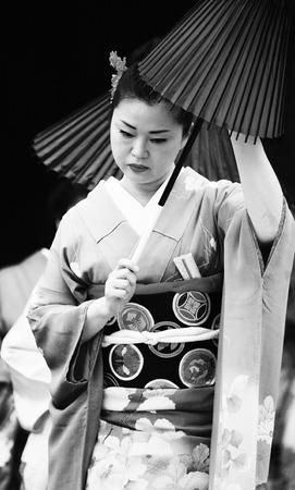 kabuki: London, UK - October 5, 2013: Participants, Hiroko Tanaka Nihon Buyo Team-Japanese dance, influenced by Kabuki dance, at 2013 London Japanese Matsuri (festival), various of activities to keep all ages happy at the Japan Matsuri Festival at Trafalgar Squar