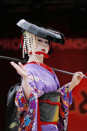 influenced: London, UK - October 5, 2013: Participants, Hiroko Tanaka Nihon Buyo Team-Japanese dance, influenced by Kabuki dance, at 2013 London Japanese Matsuri (festival), various of activities to keep all ages happy at the Japan Matsuri Festival at Trafalgar Squar