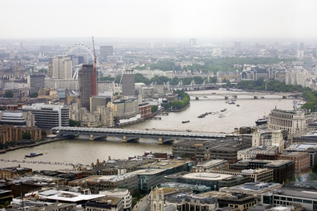 blackfriars bridge: London skyline overlooking thames river, include London Eye, Big Ben, Hungerford Bridge, Waterloo Bridge, Blackfriars Bridge, Embankment Place.