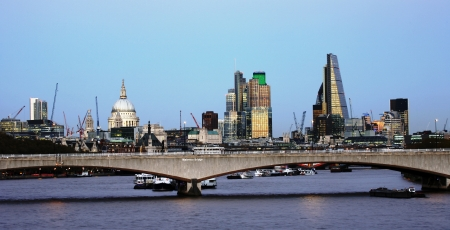 London skyline, include Waterloo Bridge and skyscrapers, seen from Hungerford Bridge