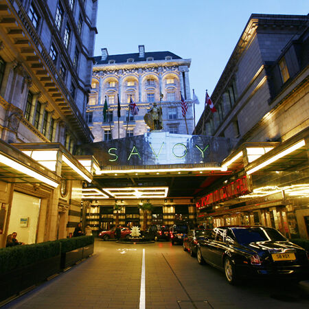 opulent: London, UK - March 7, 2014 :Outside view of the Savoy hotel, Britains first luxury hotel in central London, opened in 1889 and closed in 2007 for renovations and reopened in October 2010.
