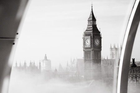 south london: Palace of Westminster in fog seen from London Eye