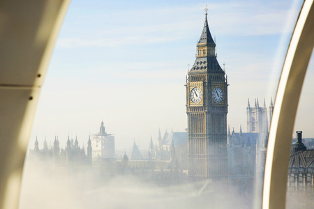 bird eye view: Palace of Westminster in fog seen from London Eye