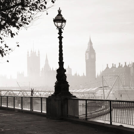lampost: Palace of Westminster in fog seen from South Bank