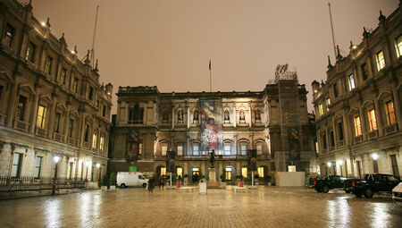 eminent: London, UK - Dec 21, 2010 : Night view of The Royal Academy of Arts, privately funded institution led by eminent artists, established 1768, in Piccadilly, London.    Editorial