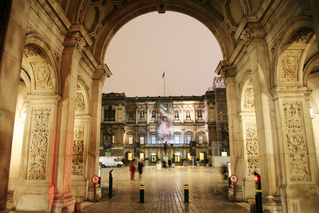 funded: London, UK - Dec 21, 2010 : Night view of The Royal Academy of Arts, privately funded institution led by eminent artists, established 1768, in Piccadilly, London.    Editorial