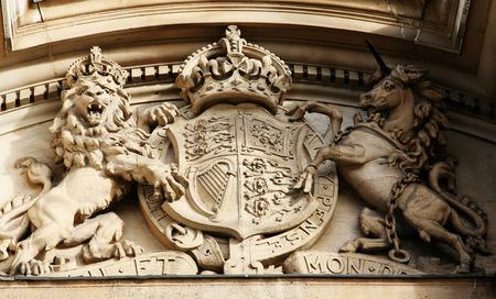 oficina antigua: León y tallado caballo, Oficina de Guerra Viejo, Ministerio de Defensa en el Whitehall, Gobierno del Distrito Foto de archivo