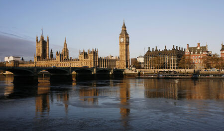 south london: London skyline, Westminster Palace, Big Ben, Victoria Tower and Central Tower, seen from South Bank