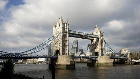 draw bridge: Tower Bridge in cloudy day, London Architecture