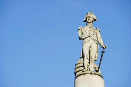 nelson: Nelson statue in Trafalgar Square, London, UK Stock Photo