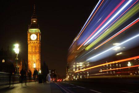 westminster bridge: Big Ben, bus lights trail present, seen from Westminster Bridge at Night Stock Photo