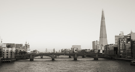blackfriars bridge: London skyline, include Blackfriars Bridge, The Shard, seen from Millennium Bridge Stock Photo