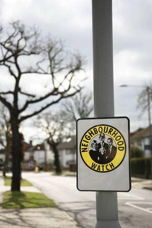 neighbourhood: Neighbourhood watch area sign in England, UK