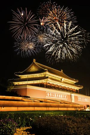 天安門 (天安)、北京の夜景