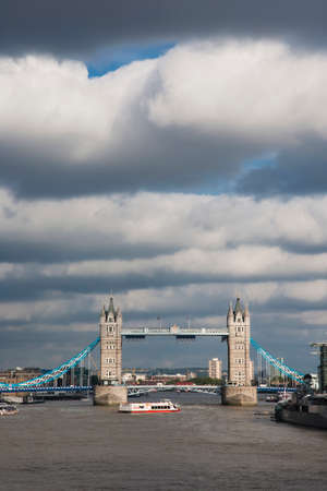 mood moody: Tower Bridge, seen from London Bridge,  in the cloudy day