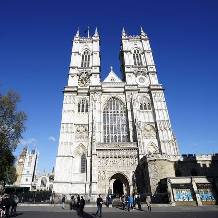 mood moody: LONDON - APRIL 29 : View of The London Westminster Abbey, The Great West Door and towers, seen from Tothill Street, on April 29, 2015 in London.