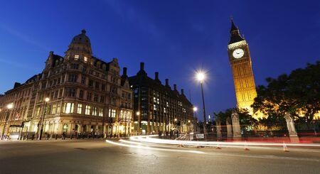 Vue de nuit de la place du Parlement de Westminster, Big Ben Inclure Tour de l'Horloge