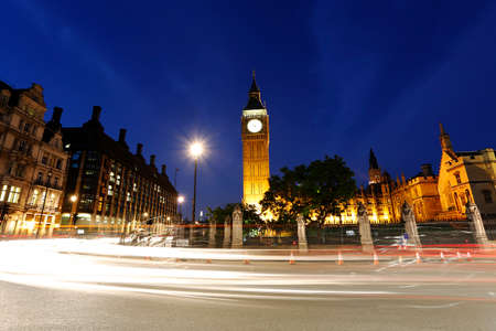 parliament square: Night View of Westminster Parliament Square, Include Big Ben Clock Tower