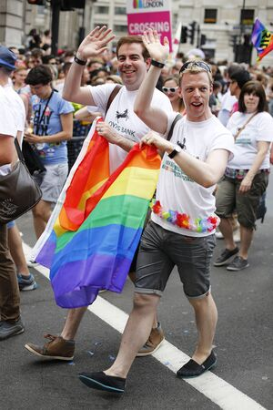 estimated: London - June 27, 2015: People take part in Londons Gay Pride, 2015 Worldpride, estimated 25,000 people took part in the march, Parade to support gay rights.