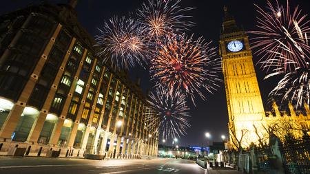 midnight: Fireworks over Big Ben at midnight