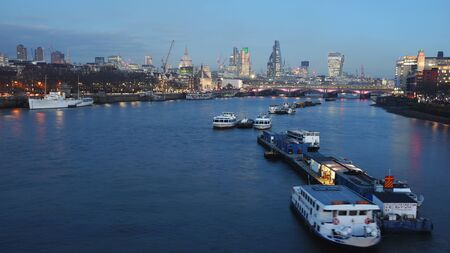 blackfriars bridge: London skyline, include Blackfriars Bridge, St Pauls Cathedral, seen from Waterloo Bridge Stock Photo