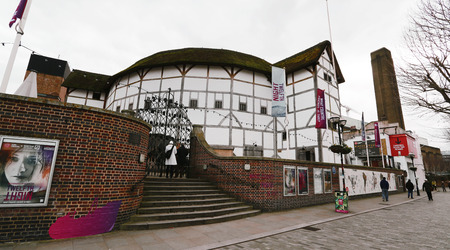globe theatre: London , UK - March 3, 2016: Outside view of Shakespeares Globe Theatre, located on 21 New Globe Walk, Southwark London, since 1997, designed by Pentagram.