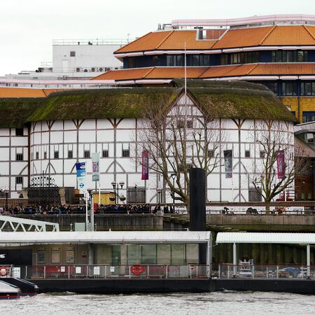 southwark: London , UK - March 3, 2016: Outside view of Shakespeares Globe Theatre, located on 21 New Globe Walk, Southwark London, since 1997, designed by Pentagram.