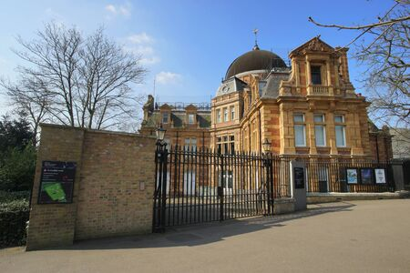 London , UK - March 17, 2016: Outside view of the Royal Observatory, built in 1676, on a hill in Greenwich Park, worked in the history of astronomy and navigation.