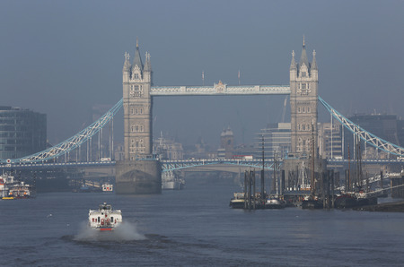 Tower Bridge in a foggy day