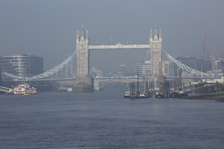 movable bridge: Tower Bridge in a foggy day