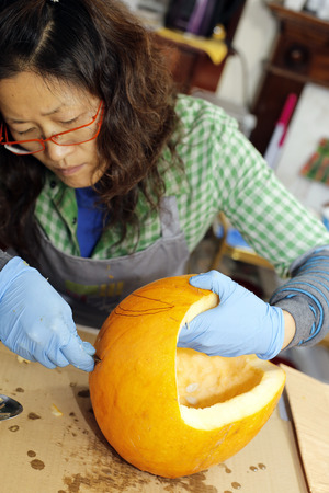 Make halloween pumpkin preparing for Halloween. photo
