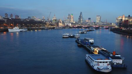 London skyline, include Blackfriars Bridge, St Pauls Cathedral, seen from Waterloo Bridge Stock Photo