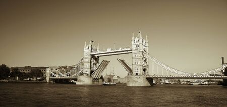 Tower Bridge, lifted, on a bright sunny day. Stock Photo