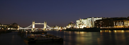 Tower Bridge seen from south bank at night