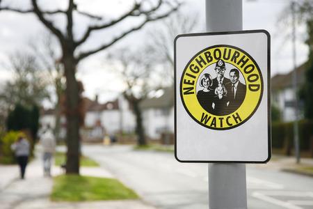 Neighbourhood watch area sign in England, UK